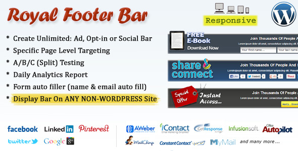 Royal Footer Bar is so clean, super flexible to use and has a fully responsive professionally designed bars, Proven to convert your daily website/blog visitors