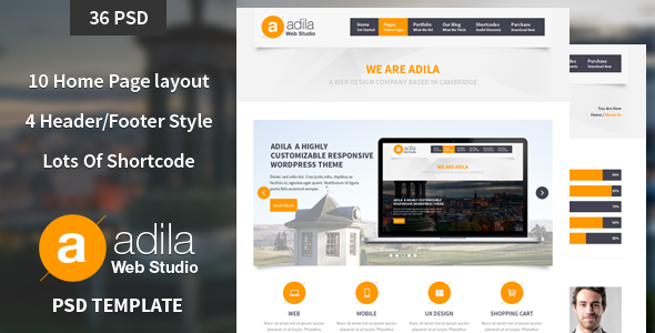 Adila: Multipurpose Business PSD Theme - This is the preview page screenshot