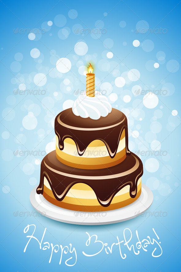GraphicRiver Happy Birthday Card with Cake 4837181