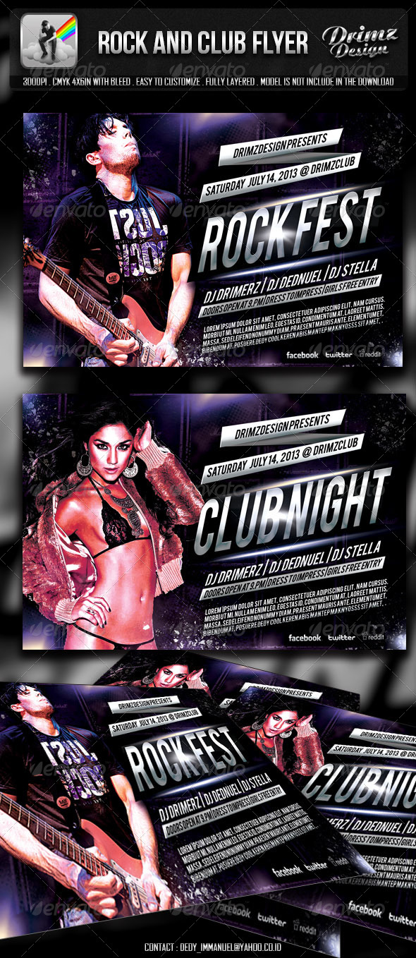 GraphicRiver Rock And Club Flyer 4837249