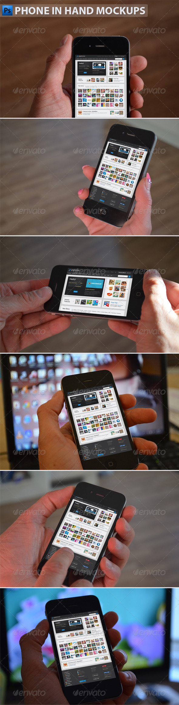 GraphicRiver Black Phone in Hand Mockups 4837449