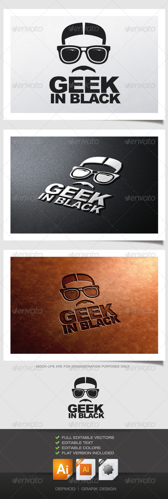 GraphicRiver Geek In Black Logo 4840133