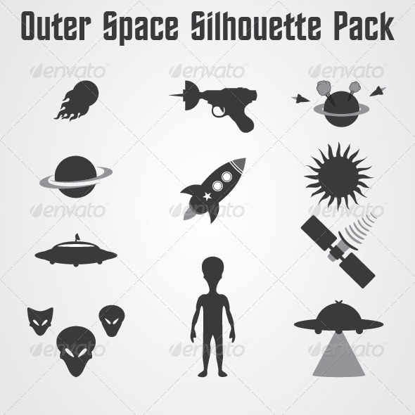 GraphicRiver Outer Space Silhouette Pack 4843980