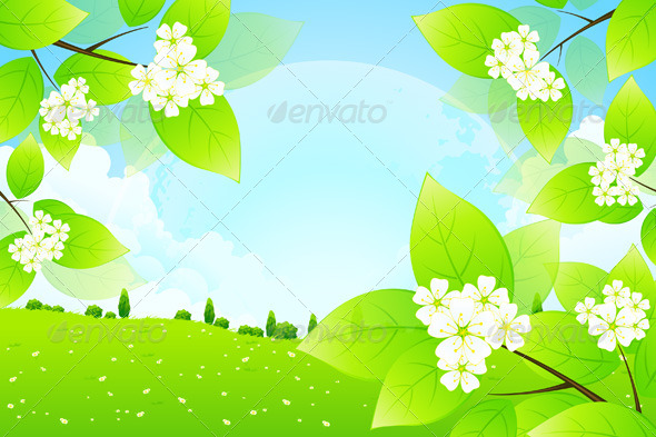 GraphicRiver Green Background with Moon in the Sky 4844038