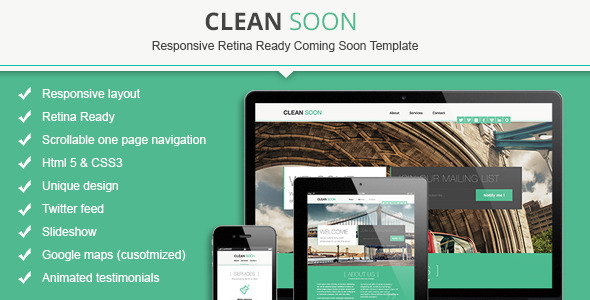 ThemeForest Clean Soon Responsive Retina Ready Coming Soon 4826423