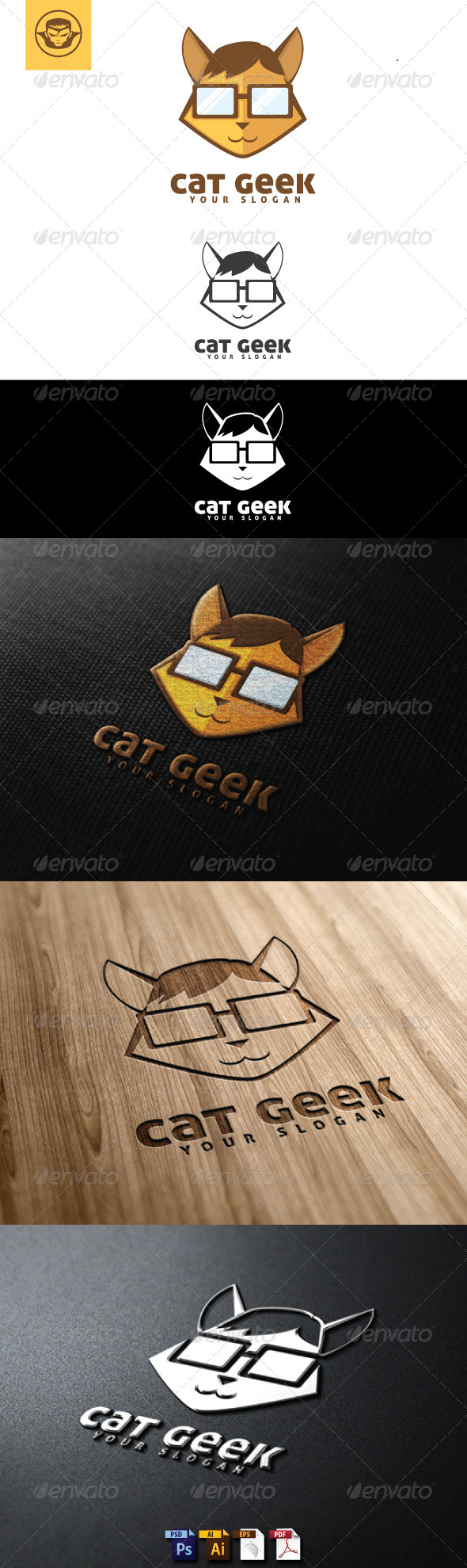 GraphicRiver Cat Geek Logo Template 4844406