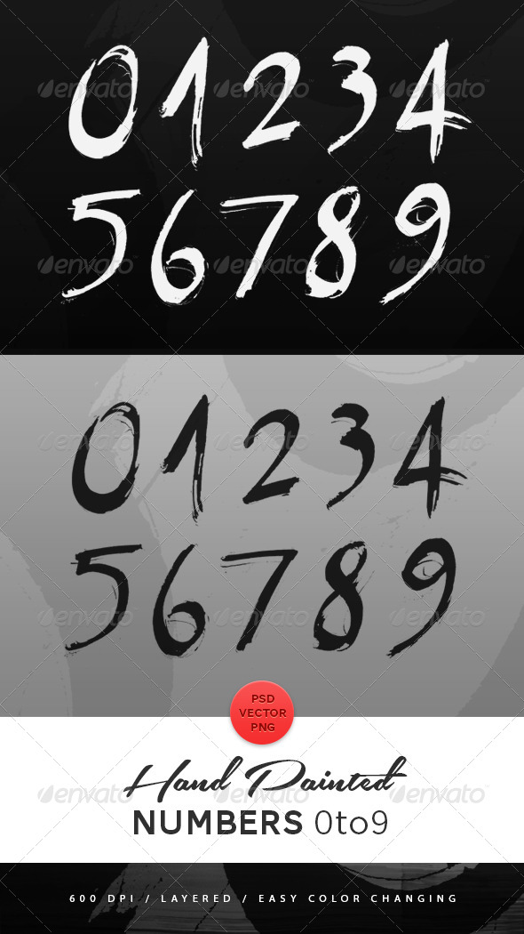 GraphicRiver Hand Painted Numbers 4844478