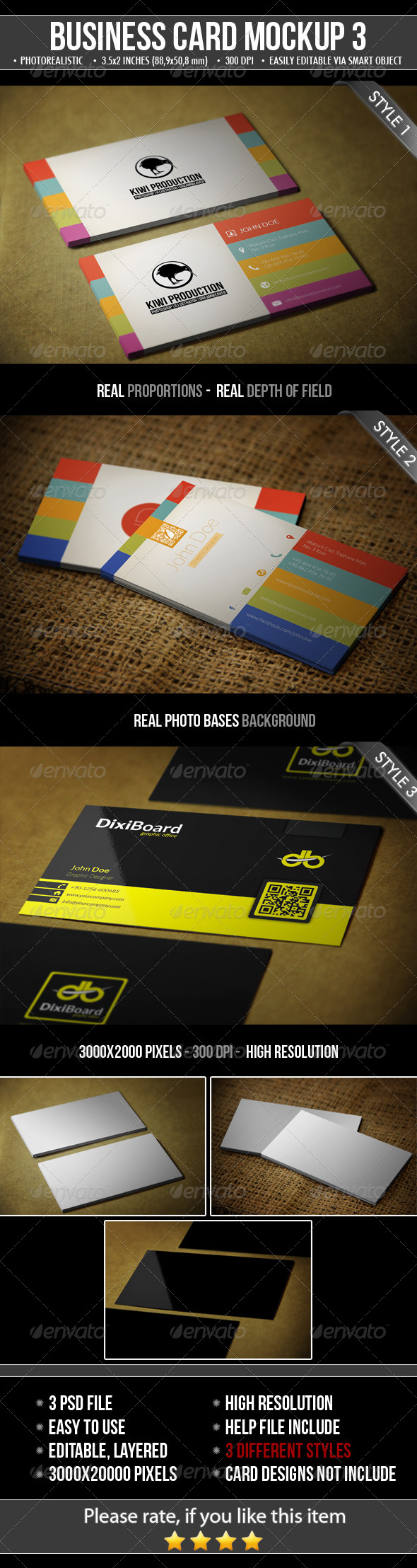 GraphicRiver 3 Realistic Business Card Mock-Up 4844722
