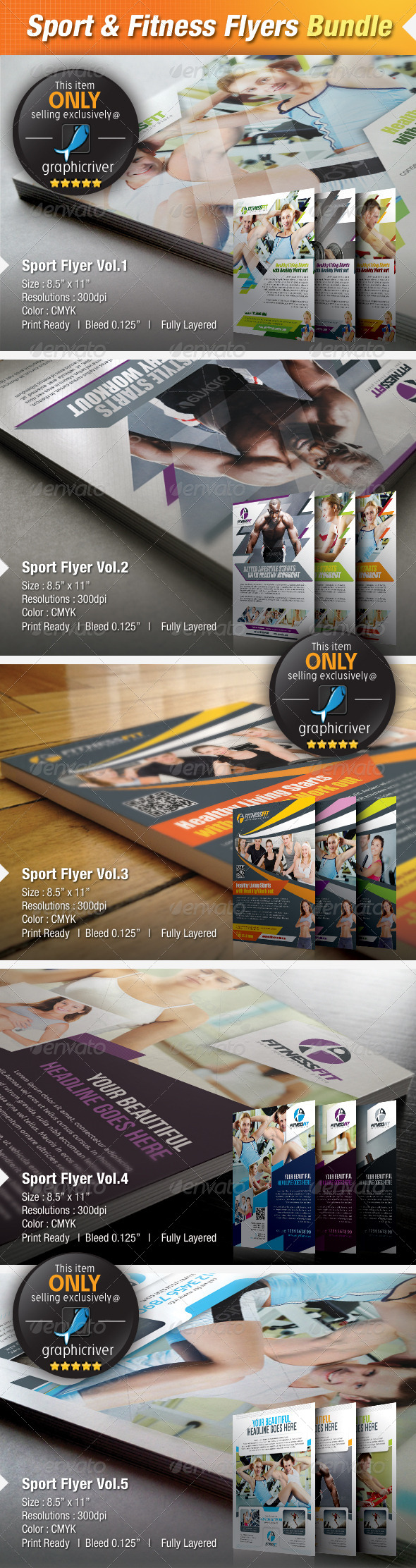 GraphicRiver 5-in-1 Sport & Fitness Flyers Bundle 4844901