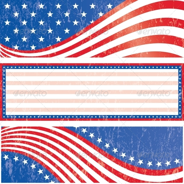 GraphicRiver American Flag Stickers Set 4845497