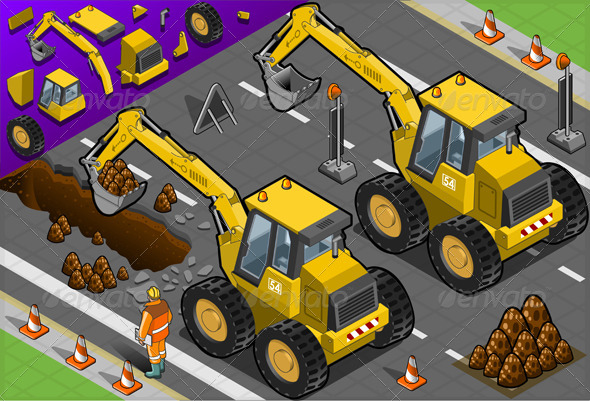 GraphicRiver Isometric Yellow Excavator in Rear View 4845682
