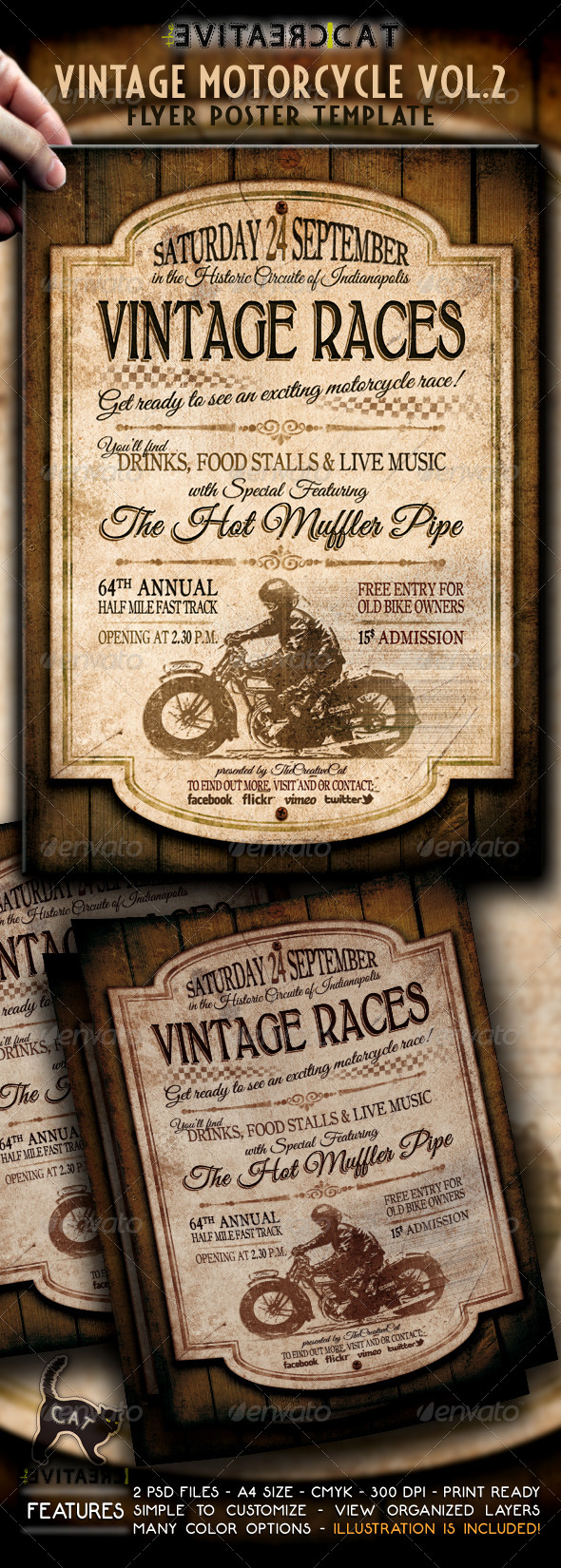 GraphicRiver Vintage Motorcycle Flyer Poster Vol.2 4848555