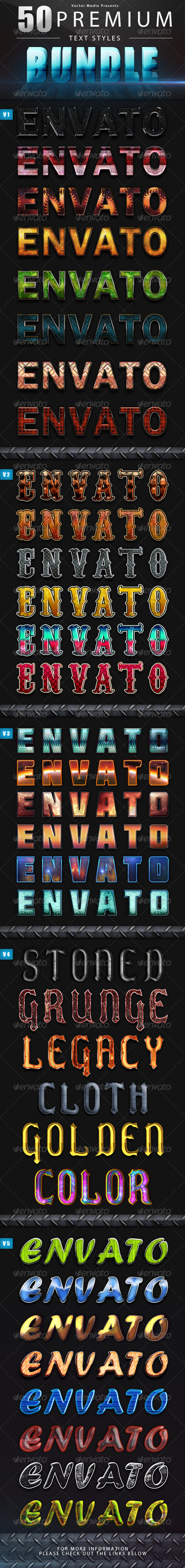 GraphicRiver Premium Text Styles Bundle 4848787