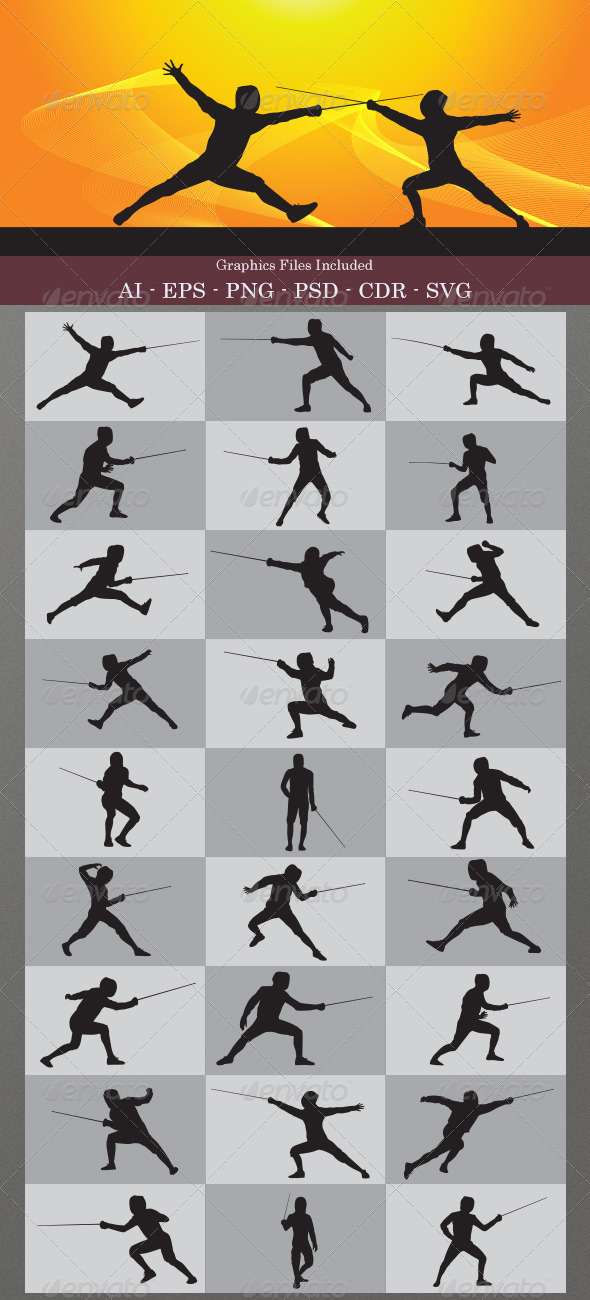 GraphicRiver Fencing Silhouettes 4848963