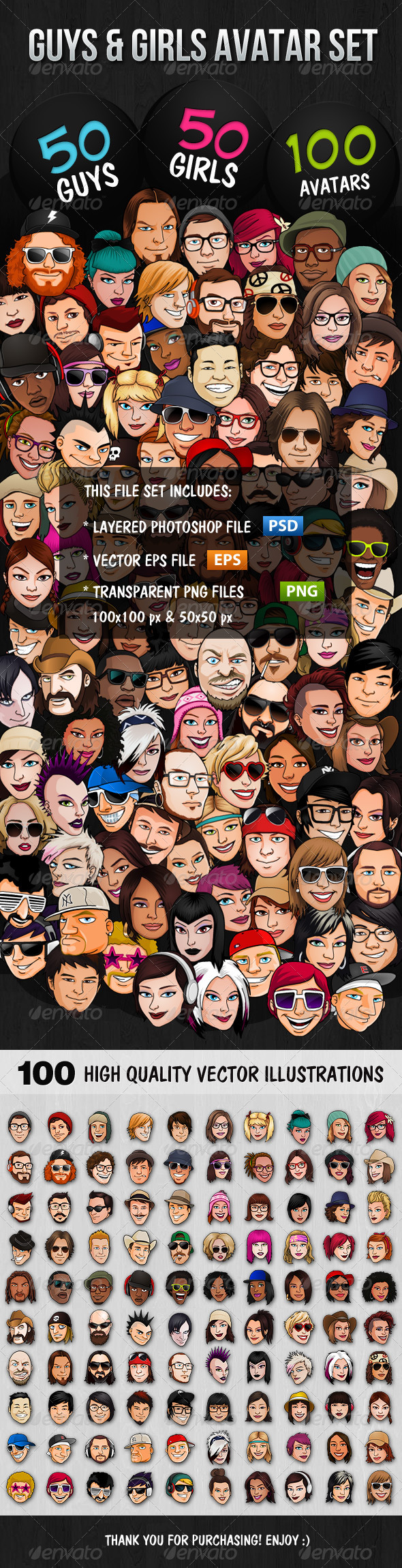 GraphicRiver 100 Guys & Girls Avatars 4849207