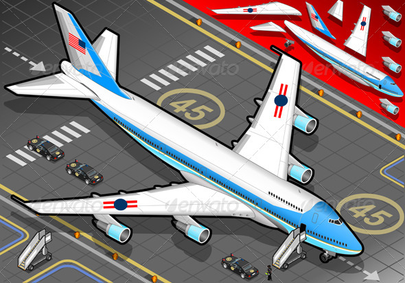 GraphicRiver Isometric Air Force One in Front View 4849210