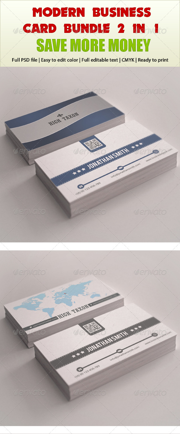 Modern Business Card Bundle 2 in 1 - Business Cards Print Templates