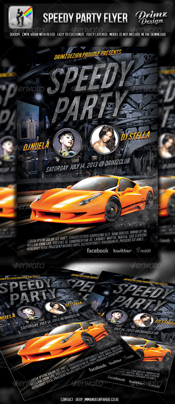 GraphicRiver Speedy Party Flyer 4849703