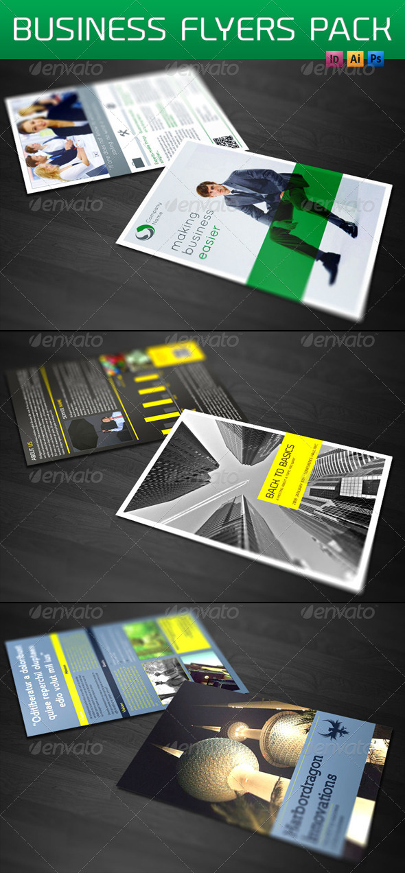 GraphicRiver 3 Business Flyers Bundle 4851019