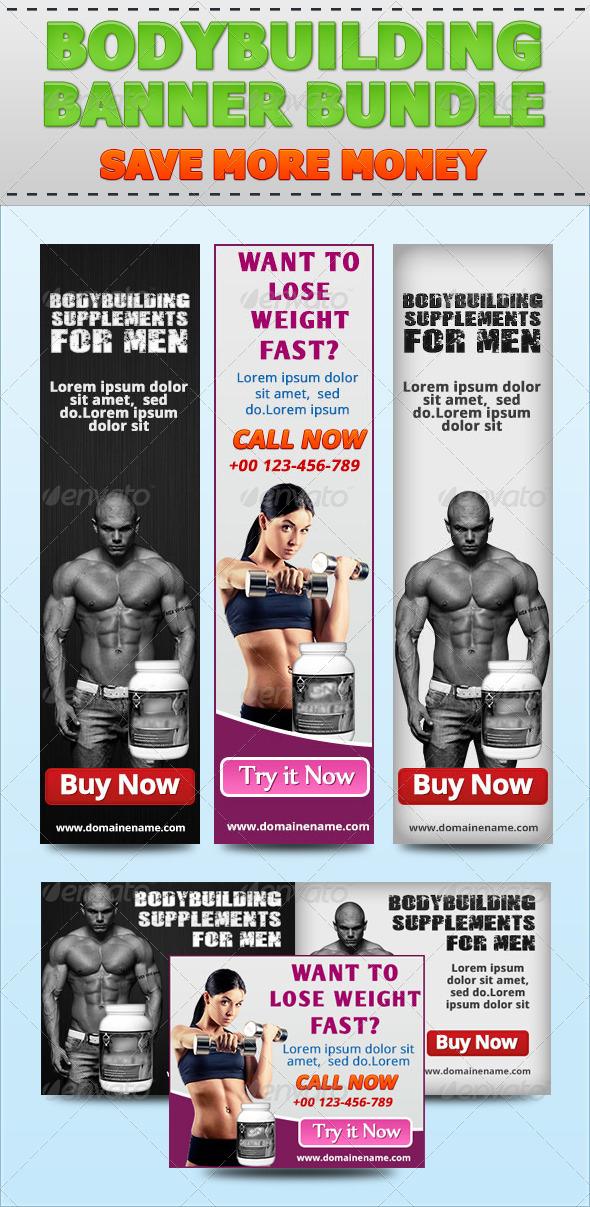 GraphicRiver Bodybuilding Banner Bundle 4851499