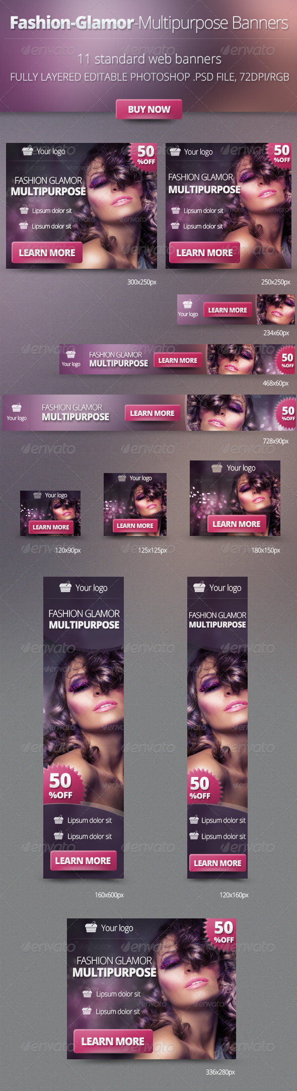 Fashion Glamor Multipurpose Banners - Banners & Ads Web Elements