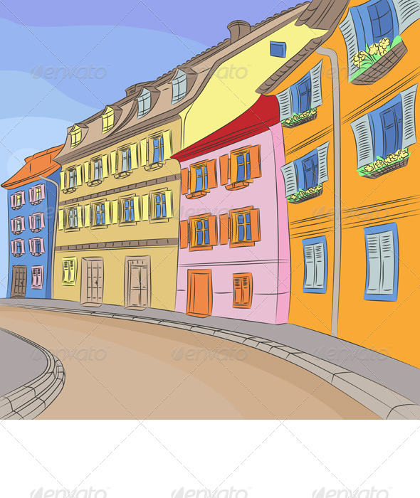 Vector Cityscape of Old European City - Buildings Objects