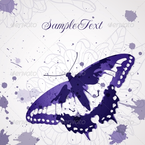 GraphicRiver Vector Background with Butterfly 4851994