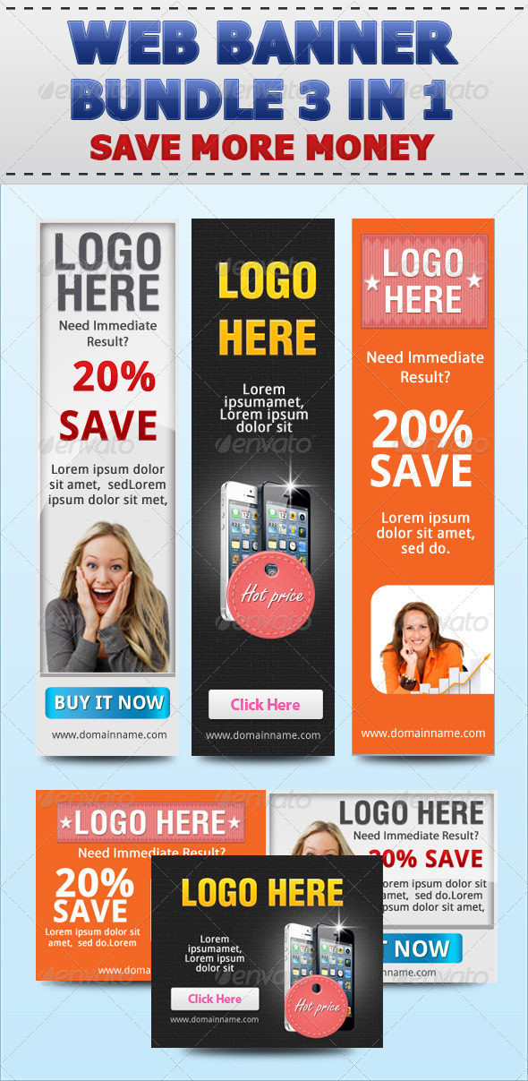 GraphicRiver Web Banner Set Bundle 3 in 1 4852043