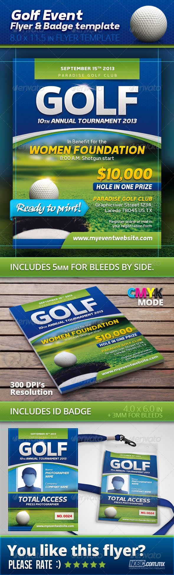 GraphicRiver Golf Event Flyer and Badge Template 4852061