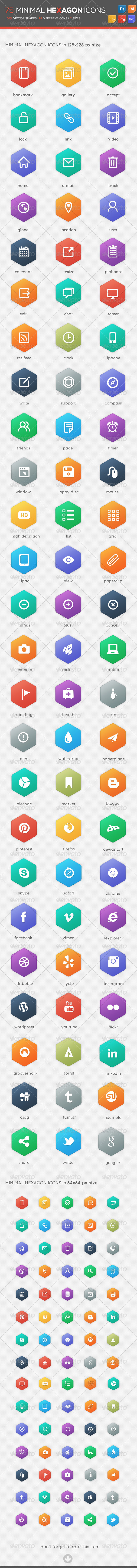 GraphicRiver 75 Minimal Hexagon Icons 4852360
