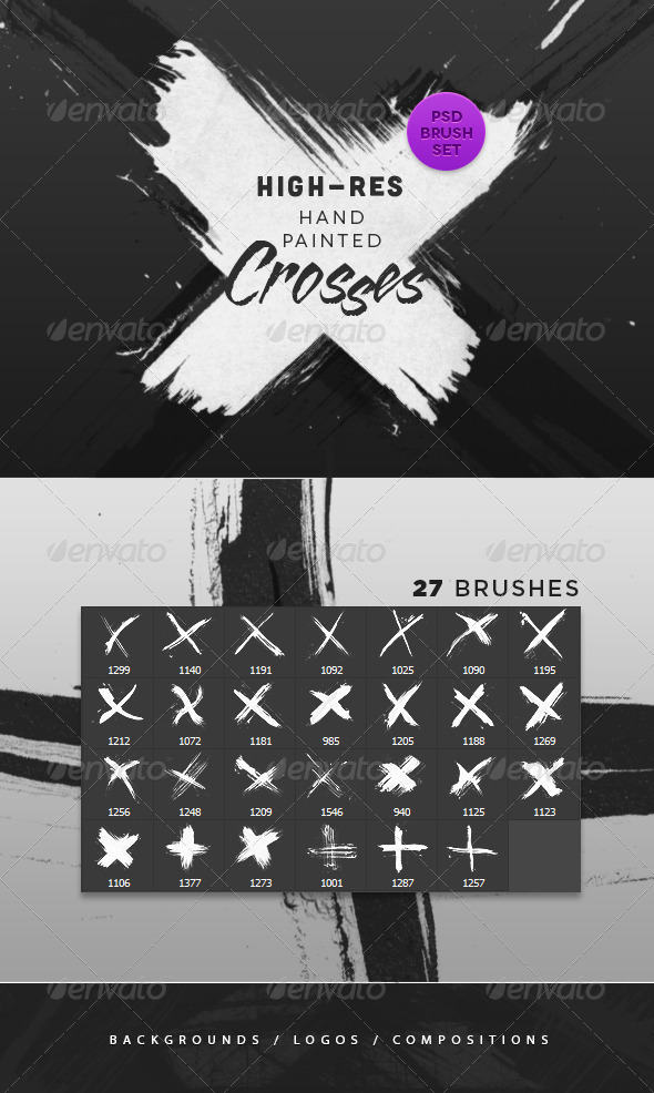 GraphicRiver Hand Painted Crosses Photoshop Brushes 4853695