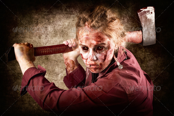 Sinister zombie axe murderer. A grunge death - Stock Photo - Images