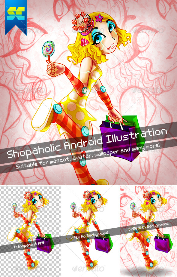 GraphicRiver Shopaholic Android Illustration Character 4819484