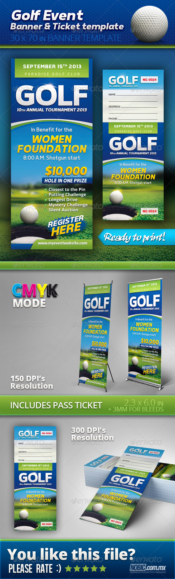 GraphicRiver Golf Event Banner and Ticket Template 4854728