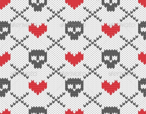 GraphicRiver Knitted Pattern with Skulls 4854754