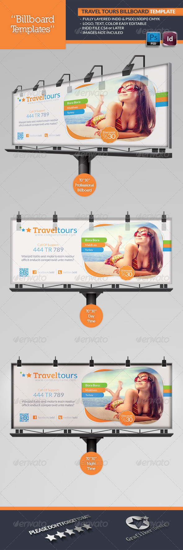 GraphicRiver Travel Tours Billboard Template 4854853