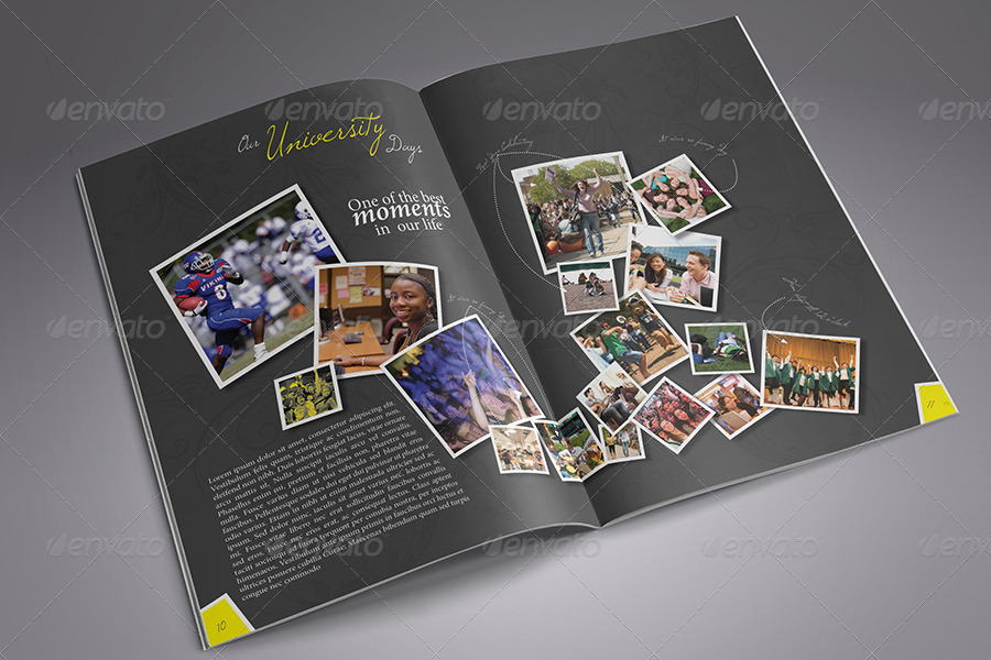 Modern yearbook template by zheksha graphicriver for Templates for yearbook pages