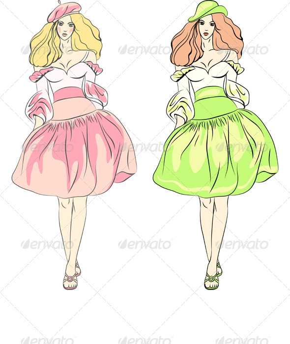 Vector Fashion Girls Top Models in Dress - People Characters