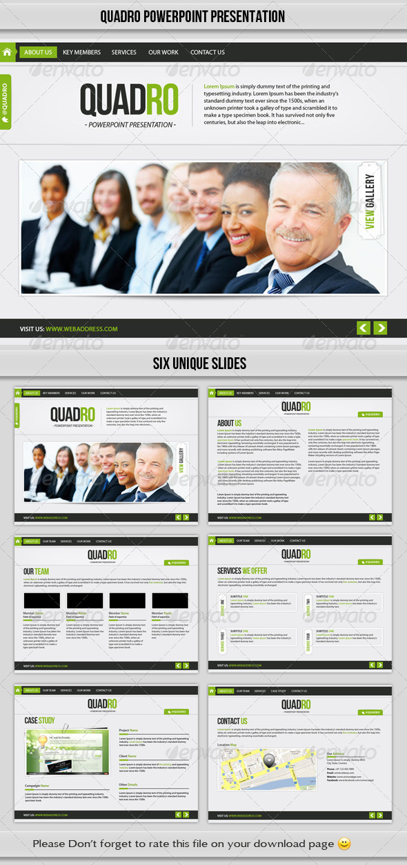 GraphicRiver Quadro PowerPoint Presentation Template 4855868