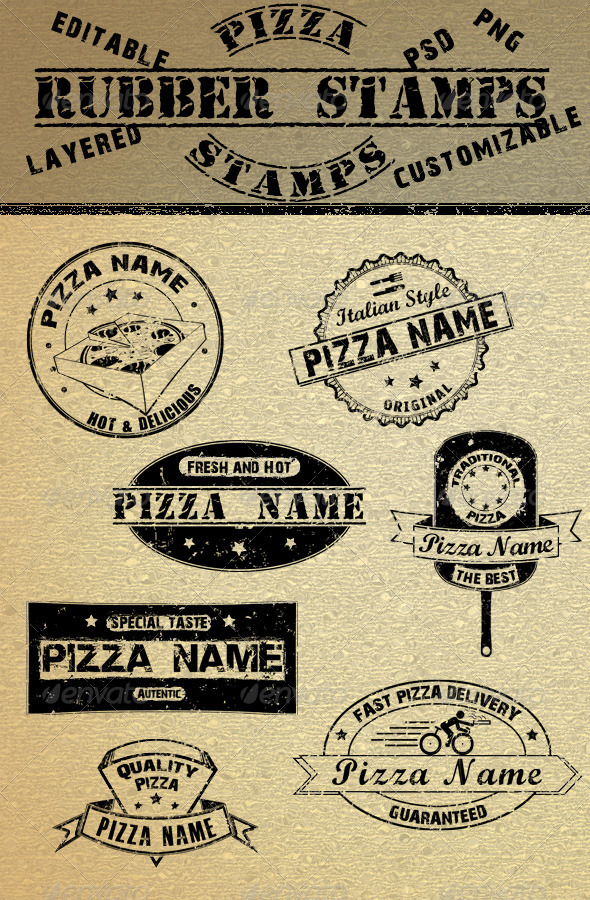 GraphicRiver Pizza Rubber Stamps 4856023