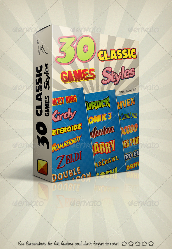 GraphicRiver Photoshop Text Styles Bundle Classic Games Pack 4833981