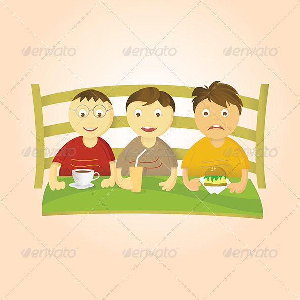 GraphicRiver Three Boys Eating 4856213