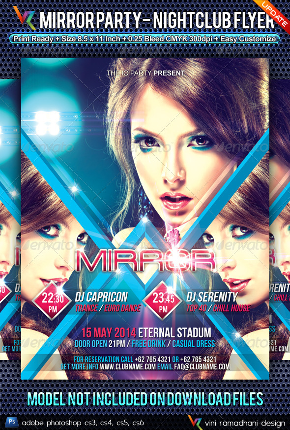 GraphicRiver Mirror Party NightClub Flyer 4856343