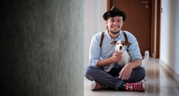 Hipster and jack russell