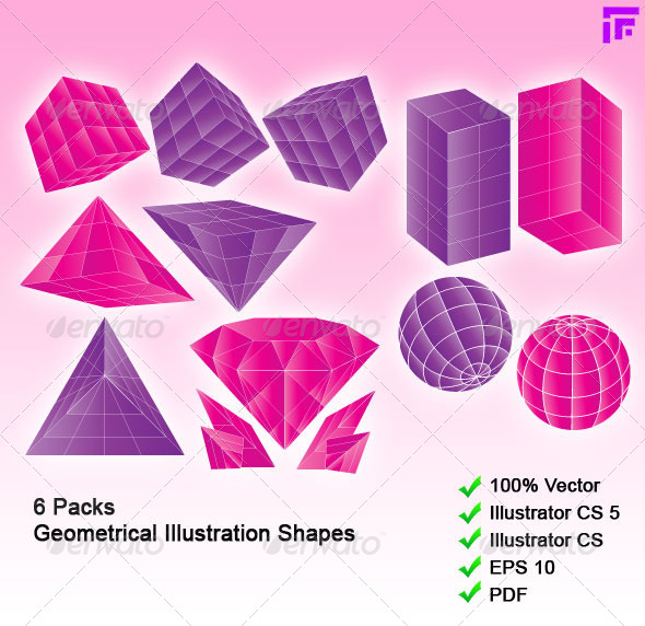 GraphicRiver 6 Packs 3D-like Geometrical Shapes 4857836