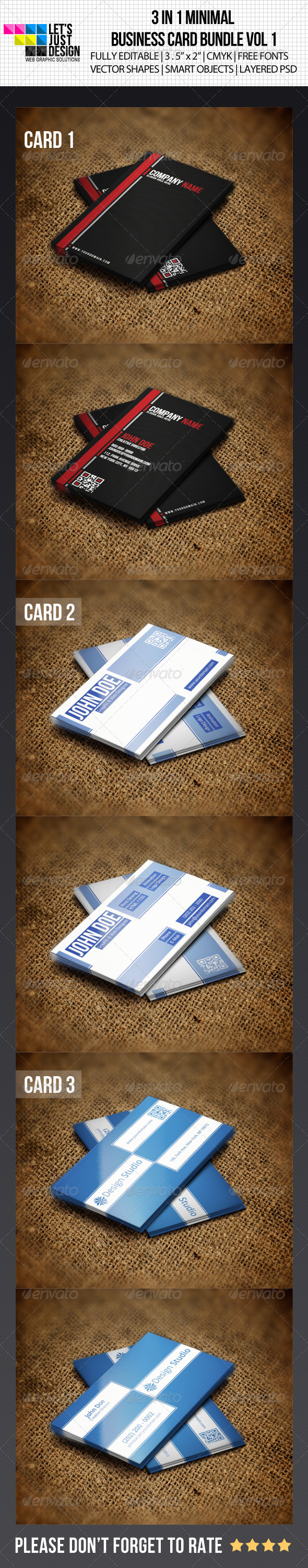 GraphicRiver 3 IN 1 Minimal Business Card Bundle 4857864