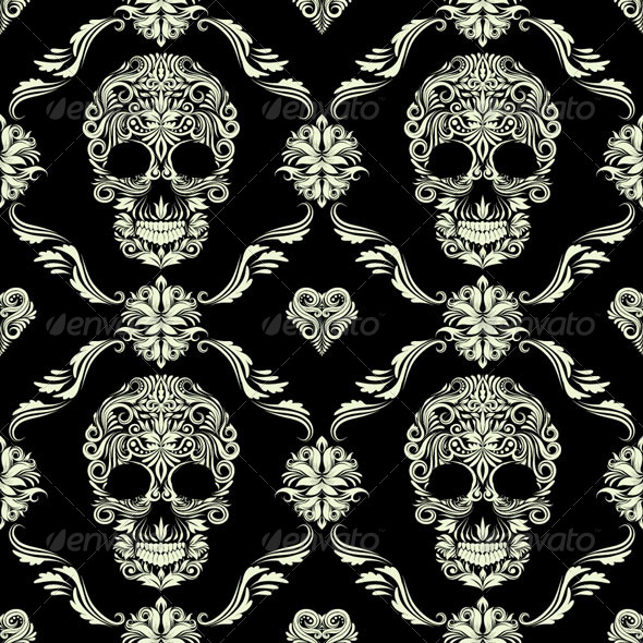 Skull Ornamental Pattern - Patterns Decorative