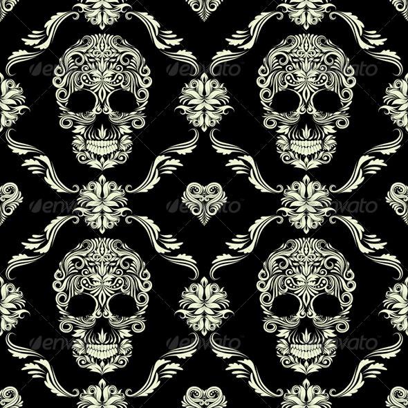 GraphicRiver Skull Ornamental Pattern 4858553