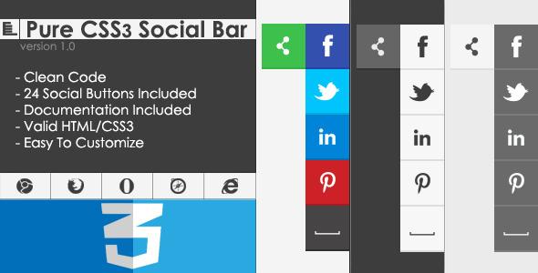 CodeCanyon Pure CSS3 Social Bar 4853302