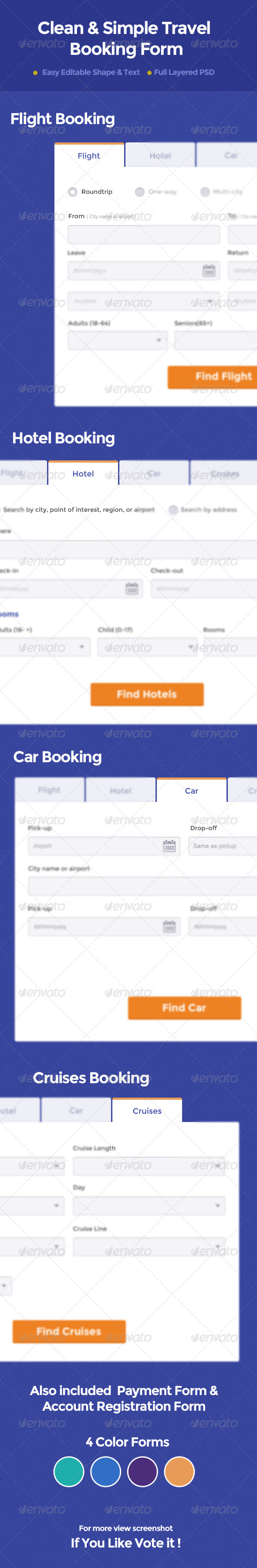 GraphicRiver Clean & Simple Travel Booking Form 4859257